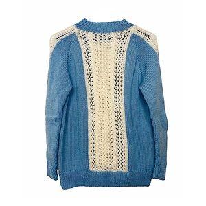 Vtg Handknit Crochet Crew Neck Sweater Baby Blue M